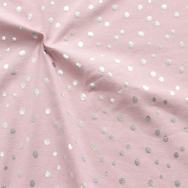 Baumwoll Stretch Jersey Metallic Dots Alt Rose