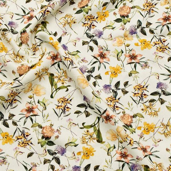 100% Viskose Modestoff Blumenvielfalt Creme-Weiss