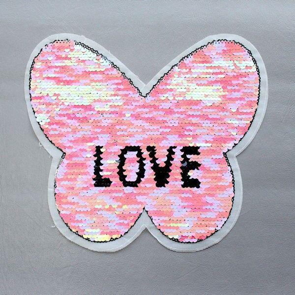 Wendepailletten Patch Schmetterling-Love Rosa-Silber