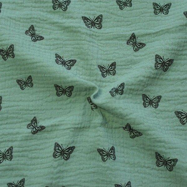 """100% Baumwolle Musselin Double Gauze """"Schmetterlinge 13"""" Farbe Mint"""