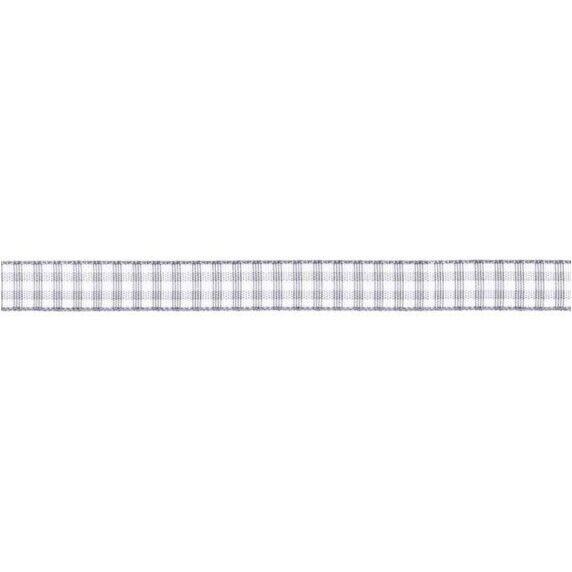 Prym Dekoband kariert 10mm x 4m (Breite / Länge) grau / weiss