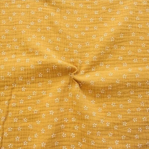"3,70 Meter 100% Baumwolle Musselin Double Gauze ""Kleine Blüten"" Farbe Curry-Gelb"