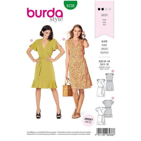 Kleid – Wickelkleid – geraffte Schultern, Gr. 34 - 44, Schnittmuster Burda 6238