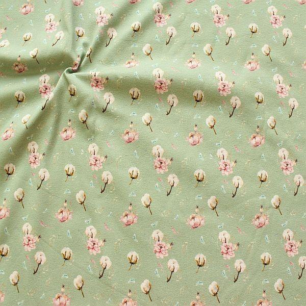 Baumwoll Stretch Jersey Baumwollblüten Mint