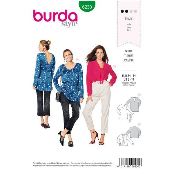Blusenshirt – V-Ausschnitt, Gr. 34 - 44, Schnittmuster Burda 6230