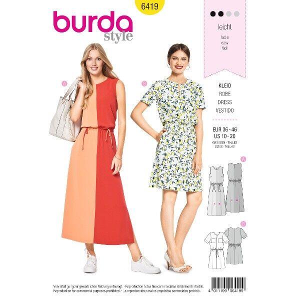 Kleid – Colourblocking – Taillendurchzug, Gr. 36 - 46, Schnittmuster Burda 6419