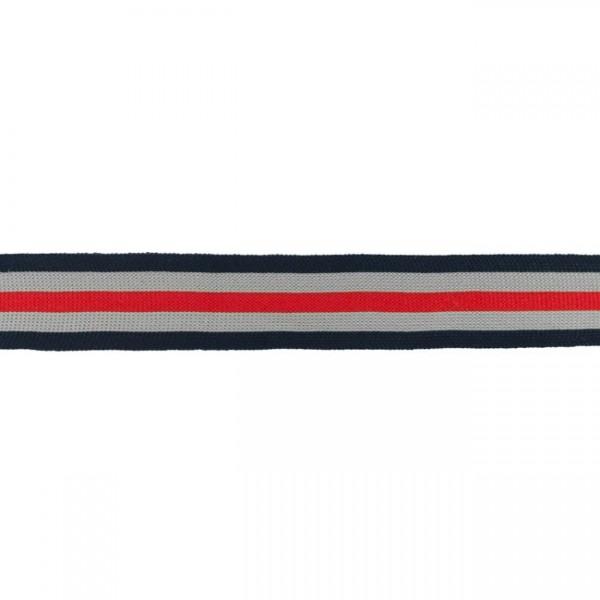 Elastikband Streifen 30mm Farbe Grau-Blau-Rot