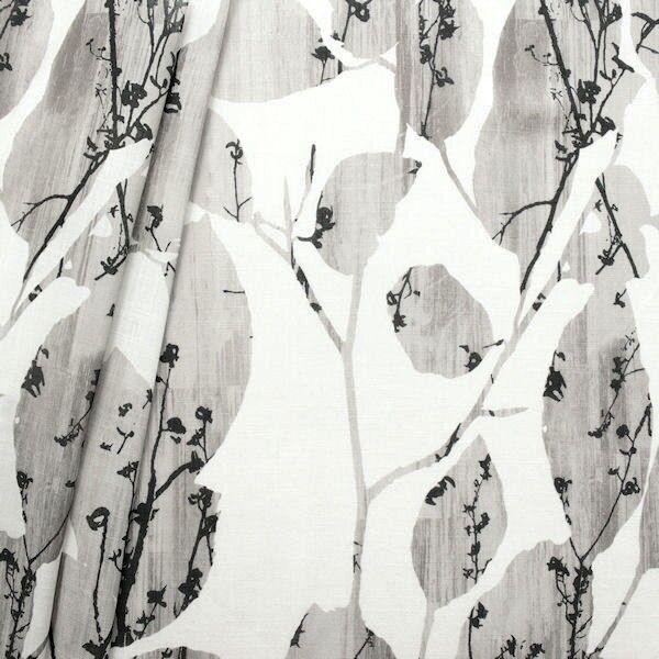 Gardinenstoff Dekostoff Leinen-Optik Blätterranken Taupe-Grau