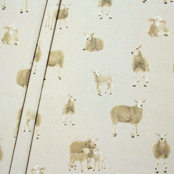 Dekostoff Schafe Natur