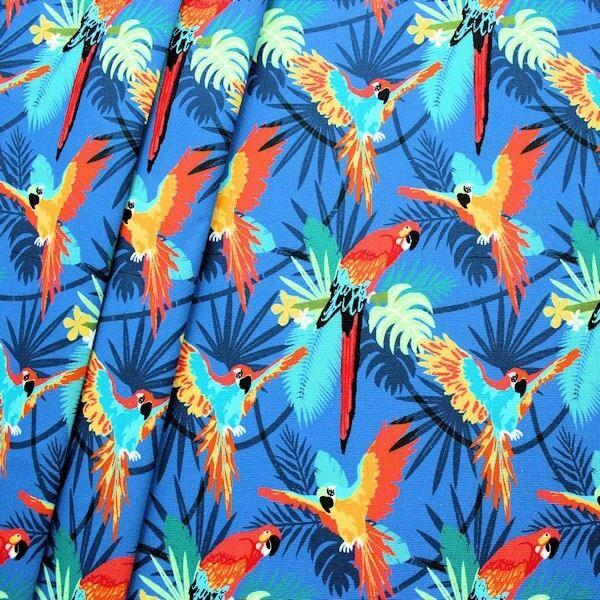 """100% Baumwolle Canvas """"Papageien"""" Farbe Blau"""
