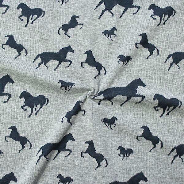 Jacquard Jersey Pferde Mix Grau meliert