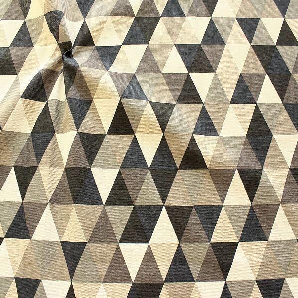 Dekostoff Halbpanama Leinen Optik Dreiecke Natur-Grau