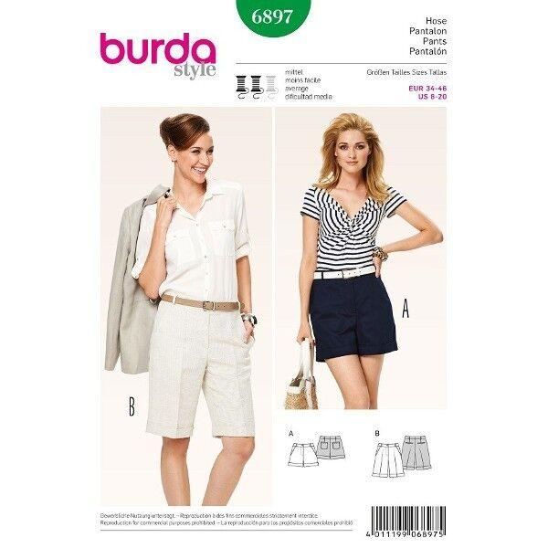 Bermudas, Shorts mit Aufschlag, Gr. 34 - 46, Schnittmuster Burda 6897