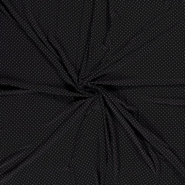 Viskose Stretch Jersey Punkte mini Schwarz