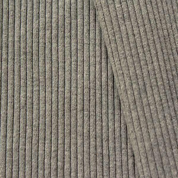 Baumwoll Bündchenstoff  Grobripp Melange Dunkel-Grau