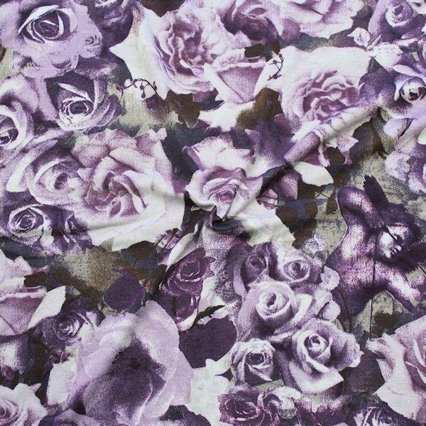 Viskose Stretch Jersey Romantic Roses Lila