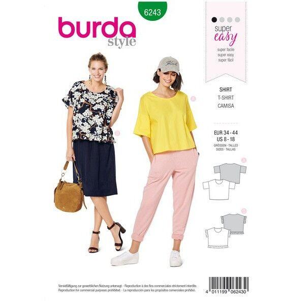 Shirt – runder Ausschnitt – kastige Form – Rüschen, Gr. 34 - 44, Schnittmuster Burda 6243