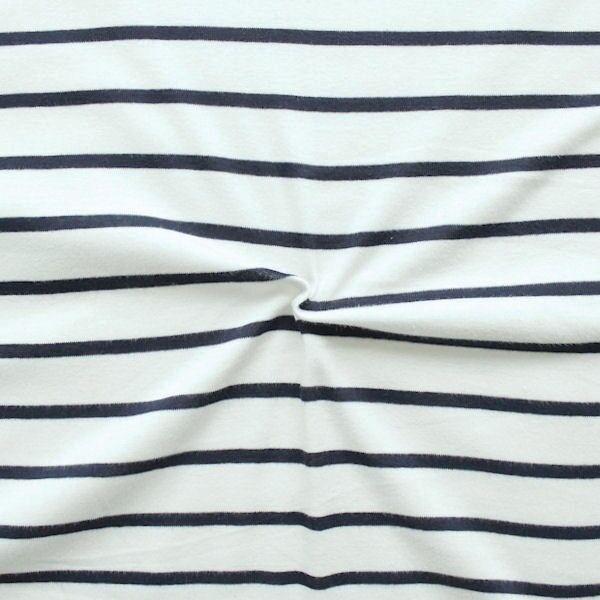 "100% Baumwolle Jersey ""Sailor Stripes"" Farbe Woll-Weiss Blau"