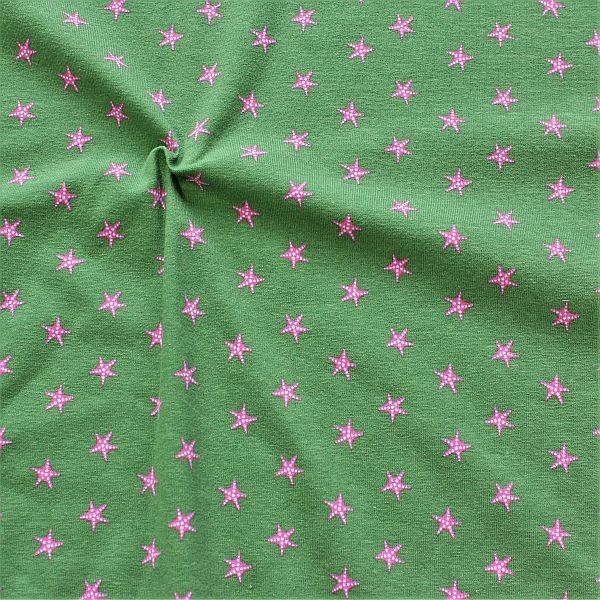 Baumwoll Stretch Jersey Seesterne Grün