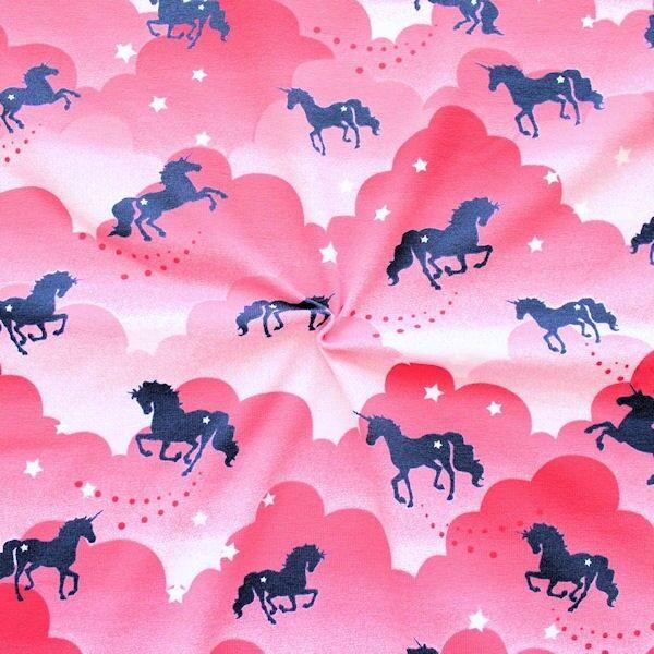 """Baumwoll Stretch Jersey """"Traum Einhörner"""" Farbe Rosa-Pink"""