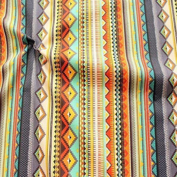 Baumwollstoff Mexiko Style Grau-Multicolor