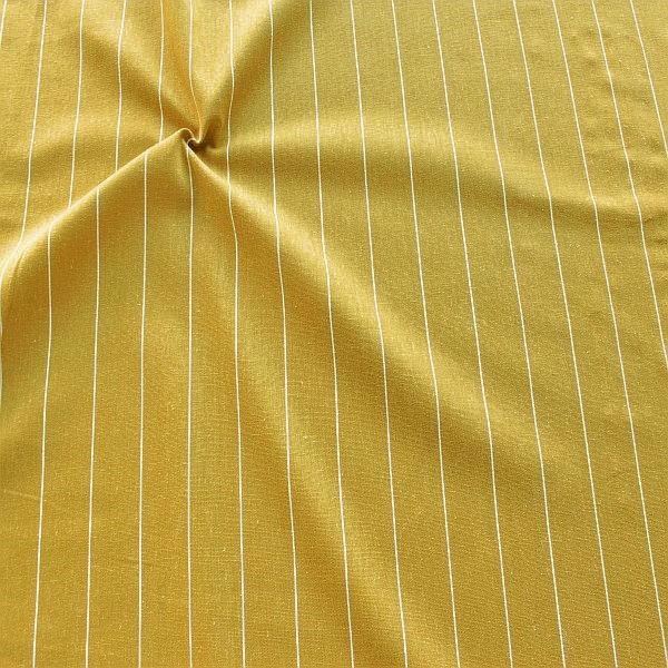 Viskose-Leinen Stoff Fine Stripes Curry-Gelb