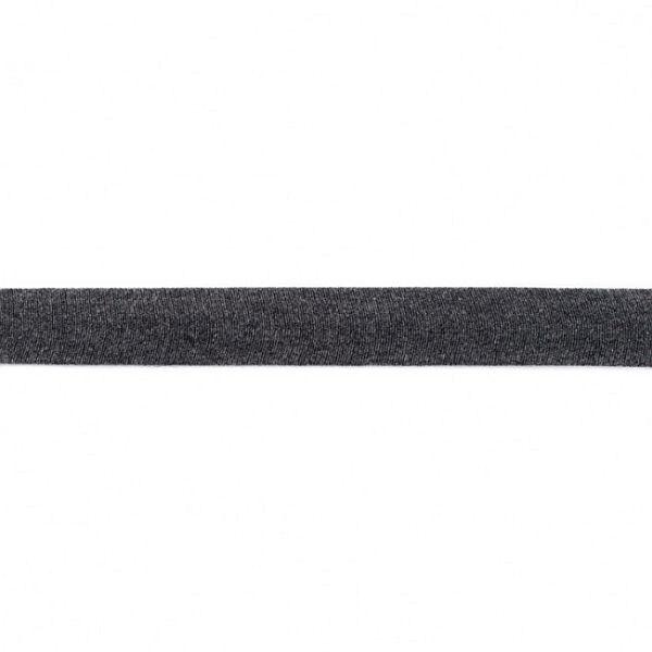 Baumwolljersey Schrägband Breite 20mm Farbe Dunkel-Grau meliert