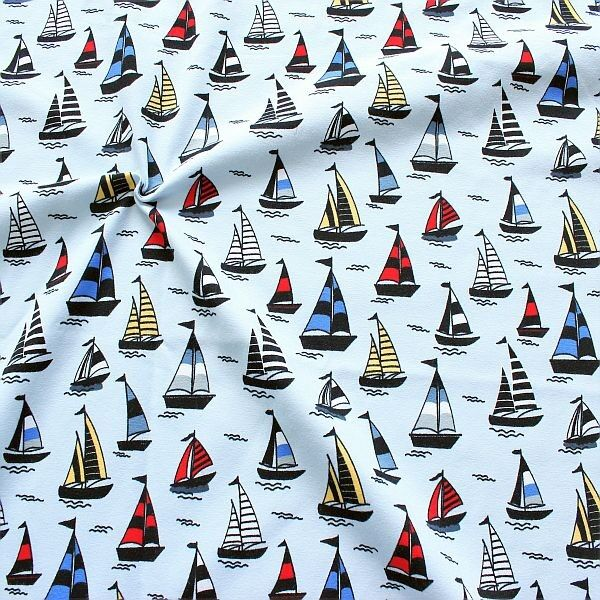 Baumwoll Stretch Jersey Segelboot Mix Hell-Blau