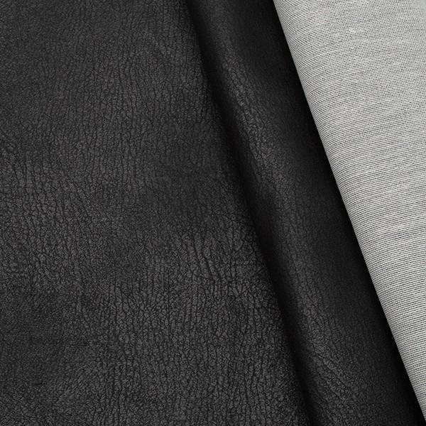 Microfaser Polsterstoff Vintage Lederoptik Schwarz