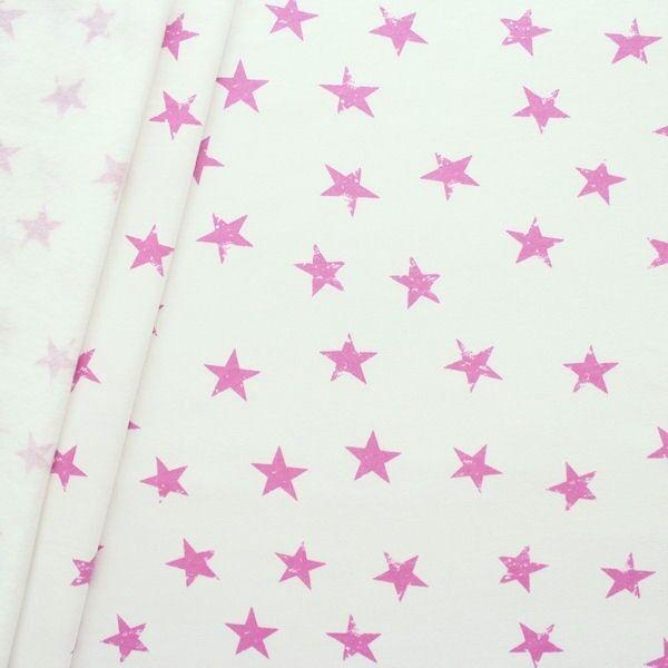 Sweatshirtstoff Sterne Used Look Creme-Weiss Pink