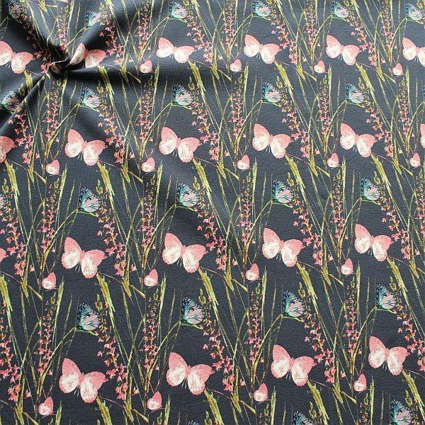 Baumwoll Stretch Jersey Schmetterlinge & Gräser Anthrazit