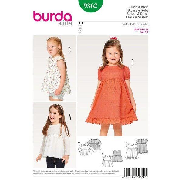 Bluse - Kleid - Hängerchen - eingereihter Rock - Saumrüsche, Gr. 92 - 122, Schnittmuster Burda 9362