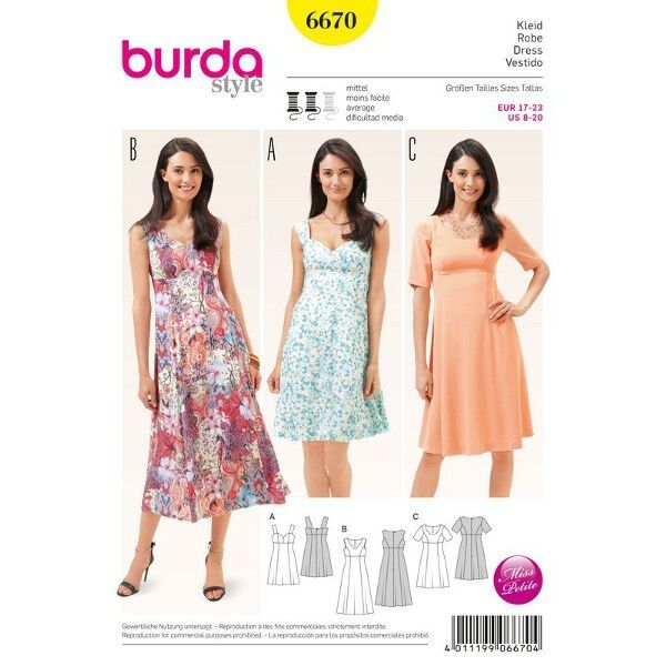 Kleid – Trägerkleid - Teilungsnähte – Kurzgrößen, Gr. 17 - 23, Schnittmuster Burda 6670