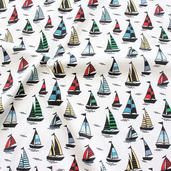 Baumwoll Stretch Jersey Segelboot Mix Weiss