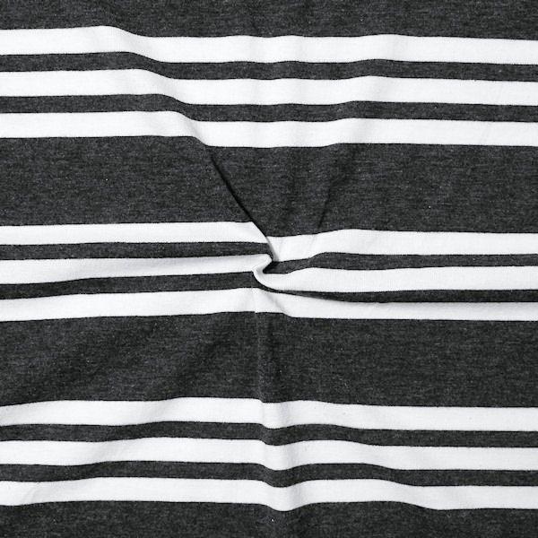 "Baumwoll Stretch Jersey ""3-Stripes"" Farbe Dunkel-Grau meliert Weiss"