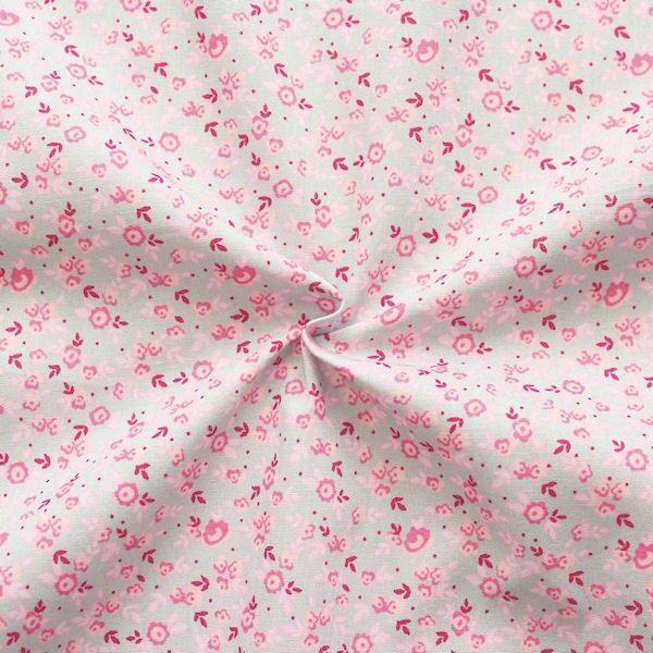 Baumwolle Popeline Millefleurs Hell-Grau Rosa