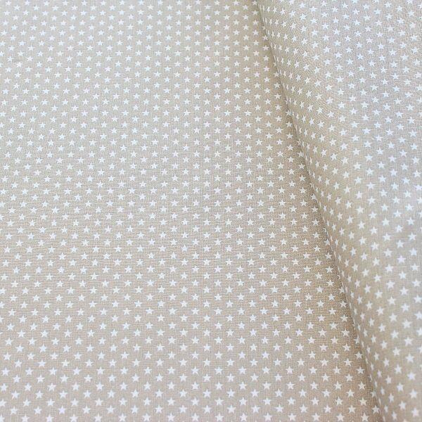 Baumwollstoff Sterne mini Beige-Weiss