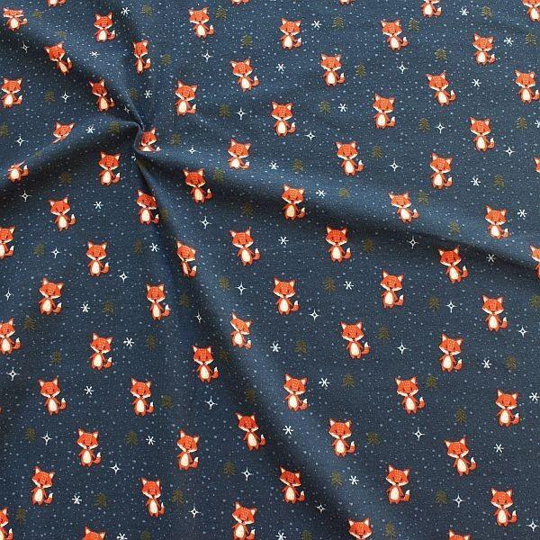 Baumwoll Stretch Jersey Winter Fuchs Dunkel-Blau