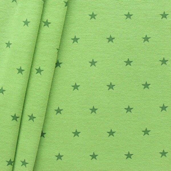 """Baumwoll Bündchenstoff """"Sterne Mittel glatt"""" Farbe Lind-Grün"""