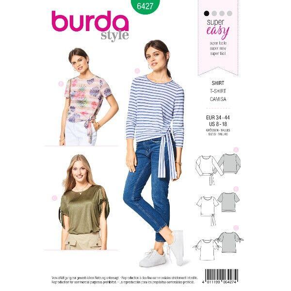 Shirt – geknotete Ärmel – Rundhalsausschnitt, Gr. 34 - 44, Schnittmuster Burda 6427