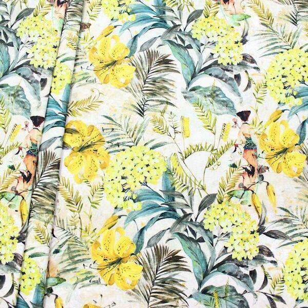 "Dekostoff Digital Druck ""Japan Garten"" Farbe Gelb"