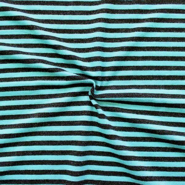 """Viskose Stretch Jersey """"Ringelstreifen 3"""" Farbe Schwarz-Türkis"""