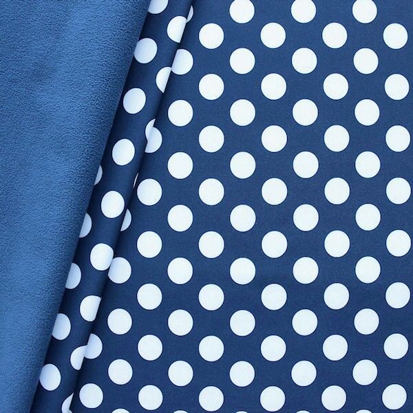 Softshell Fleece Stoff Punkte Groß Dunkelblau Weiss