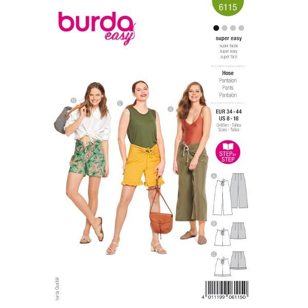 Hosen in verschiedenen Längen, Gr. 34 - 44 Schnittmuster Burda 6115