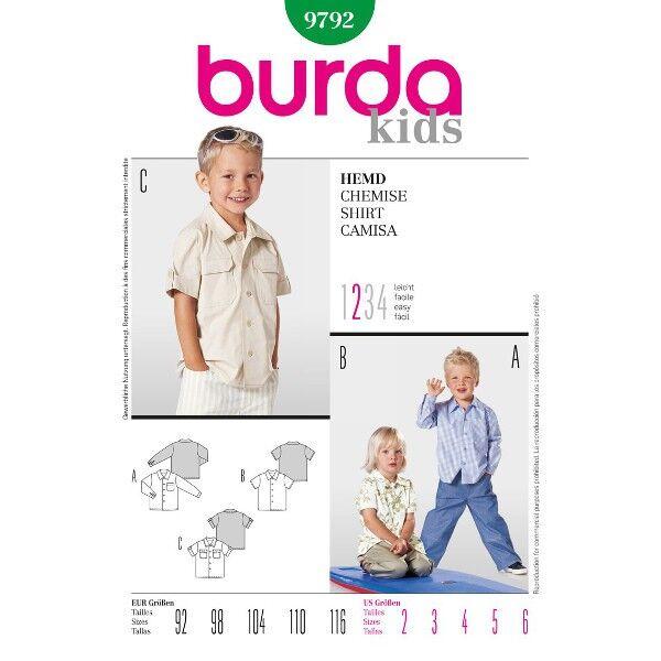 Burda 9792 Schnittmuster für Hemd in drei Varianten mit langen Manschettenärmeln, als Hawaiihemd und im Cargo-Look