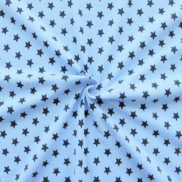 """Baumwoll Stretch Jersey """"Sterne Mittel"""" Farbe Hell-Blau"""