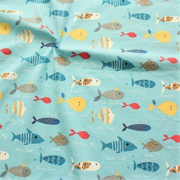 Hellblauer Baumwollstoff mit Fischen