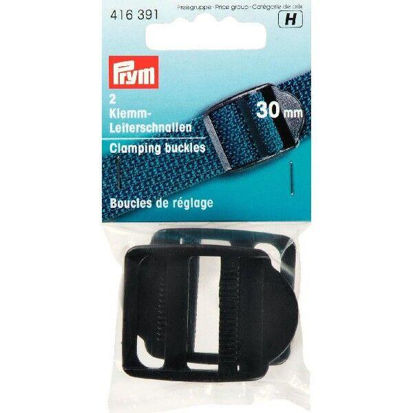 Prym 2 Stück Klemm-Leiterschnallen, 30mm, schwarz