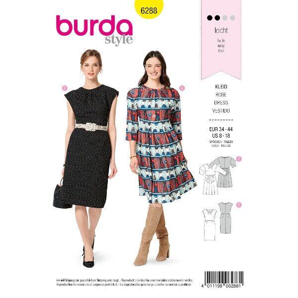 Kleid mit 3/4-Ärmeln – Etuikleid, Gr. 34 - 44, Schnittmuster Burda 6288