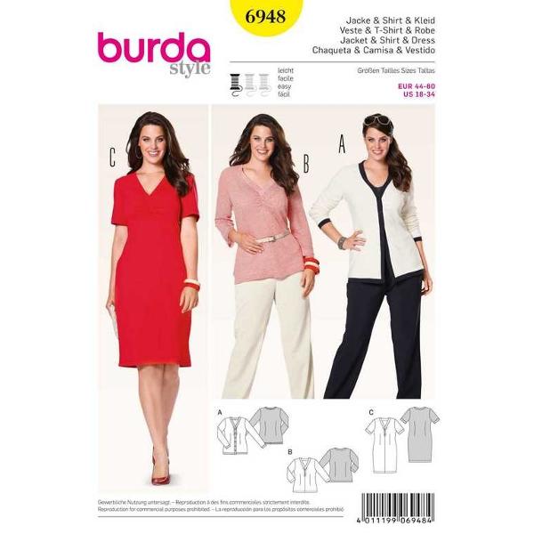 Cardigan, Shirt, Kleid, Gr. 44 - 60, Schnittmuster Burda 6948